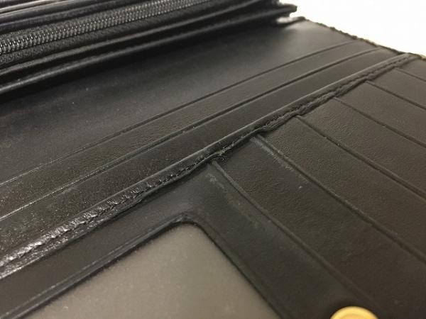 ゲラルディーニ 長財布 ダークブラウン×黒 ラウンドファスナー PVC(塩化ビニール)