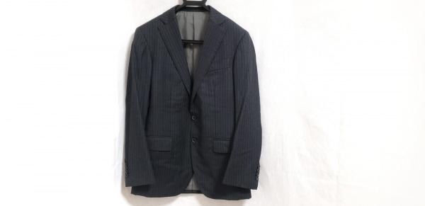 ブリラ ジャケット サイズ44 L メンズ ダークグレー×ブルー×白 肩パッド/ストライプ