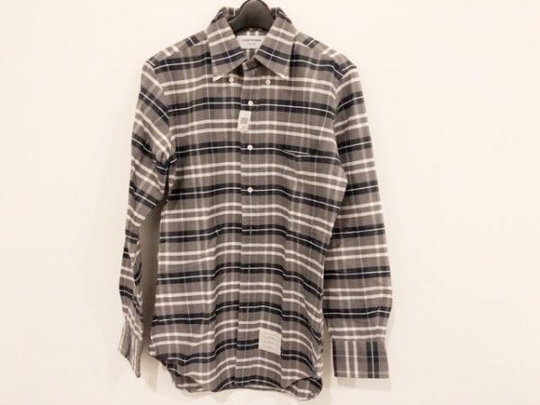トムブラウン 長袖シャツ サイズ2 M メンズ美品  グレー×ネイビー×アイボリー