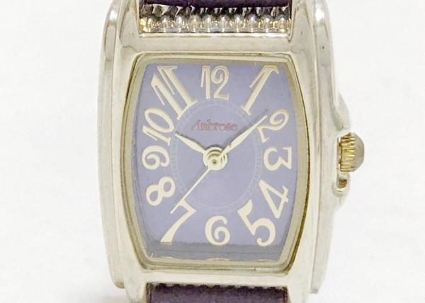 Ambrose(アンブローズ) 腕時計 - - レディース 型押し革ベルト パープル
