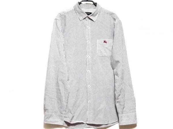 バーバリーブラックレーベル 長袖シャツ サイズ3 L メンズ グレー×白 ストライプ