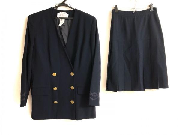 レコパン スカートスーツ サイズ42 L レディース ネイビー 肩パッド/プリーツスカート