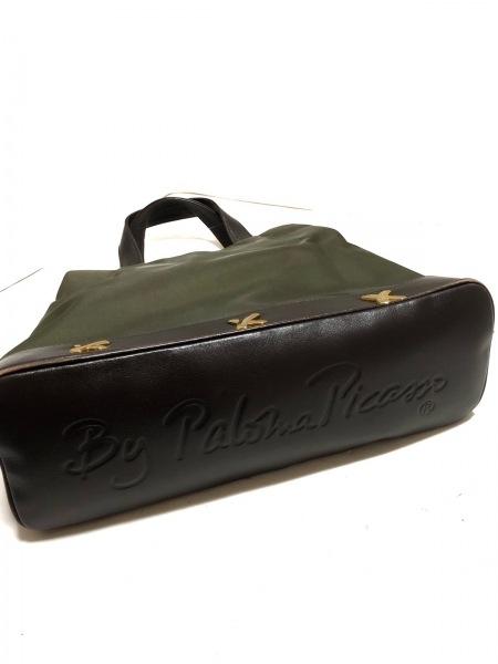 PalomaPicasso(パロマピカソ) トートバッグ カーキ×ダークブラウン ナイロン×レザー
