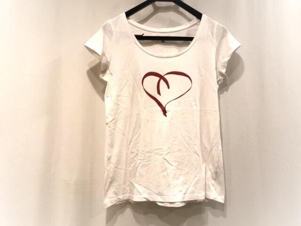 agnes b(アニエスベー) 半袖Tシャツ サイズ2 M レディース 白×レッド ハート