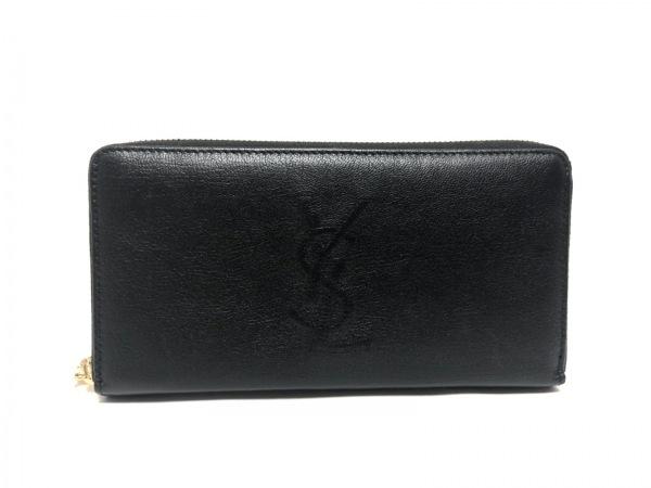 YvesSaintLaurent(イヴサンローラン) 長財布美品  黒 ラウンドファスナー レザー