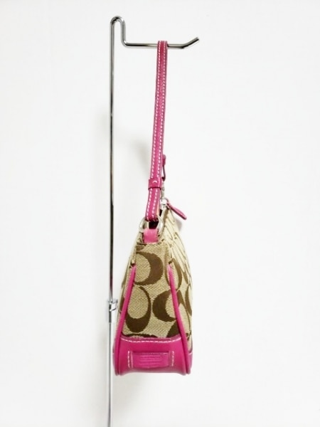 COACH(コーチ) ハンドバッグ シグネチャーデミポーチ 6094 カーキ×ピンク