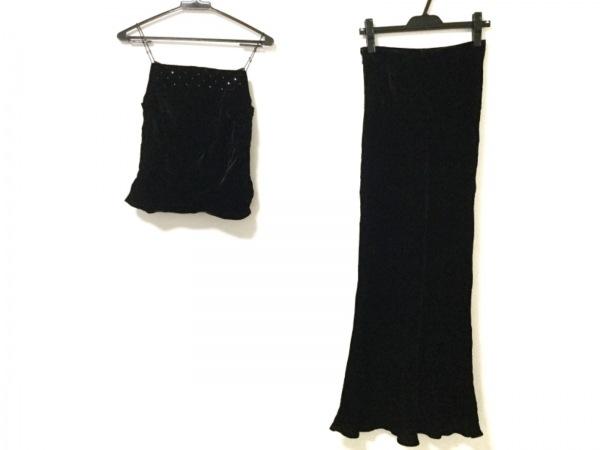 セラヴィ スカートセットアップ サイズ9 M レディース美品  黒 ベロア/ラインストーン