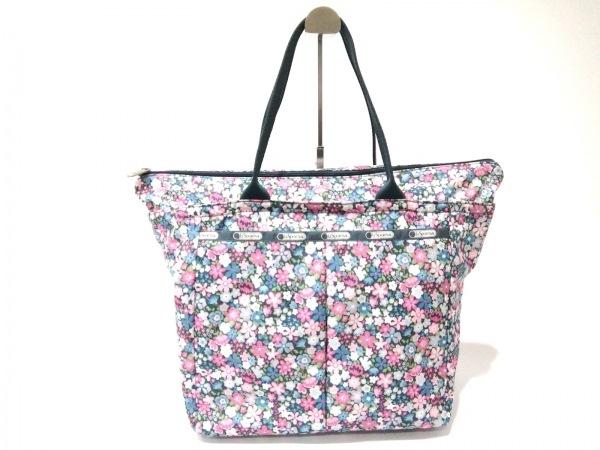 レスポートサック ハンドバッグ美品  ピンク×ブルー×マルチ 花柄 レスポナイロン