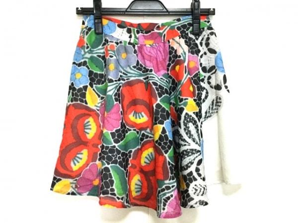 アリス マッコール ミニスカート サイズUSA6 M レディース美品  白×マルチ 花柄