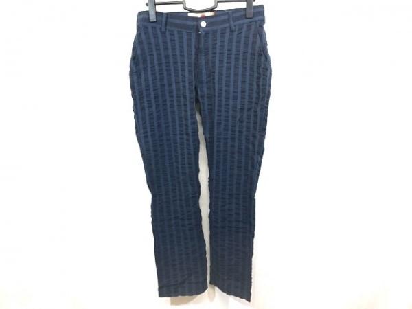 ノティファイ パンツ サイズ29 メンズ美品  ネイビー×ブルー ストライプ/シワ加工