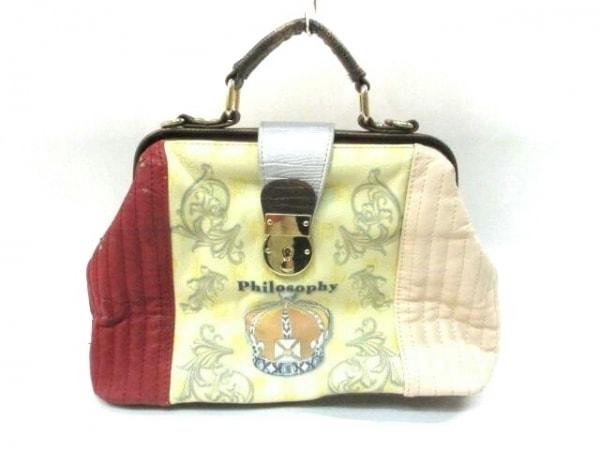 philosophy(フィロソフィ) ハンドバッグ アイボリー×ボルドー×マルチ 合皮