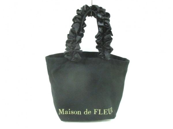 Maison de FLEUR(メゾンドフルール) トートバッグ 黒 フリル キャンバス×化学繊維