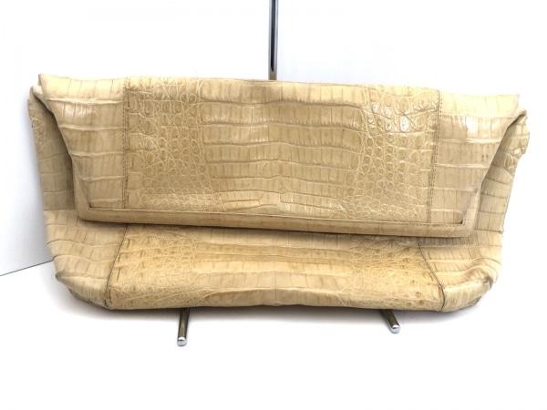 ナンシーゴンザレス クラッチバッグ ベージュ 型押し加工 クロコダイル