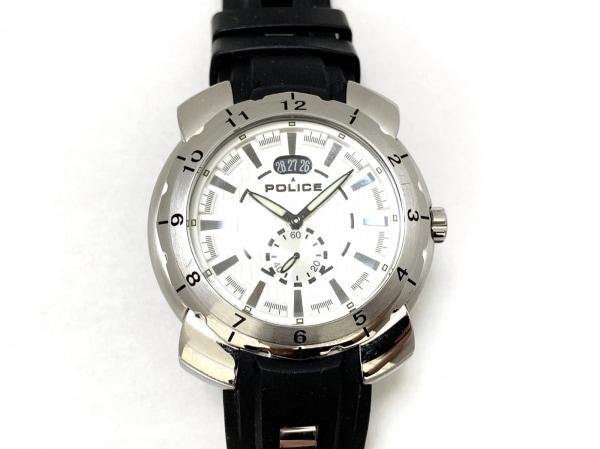 POLICE(ポリス) 腕時計 10972J メンズ ラバーベルト シルバー