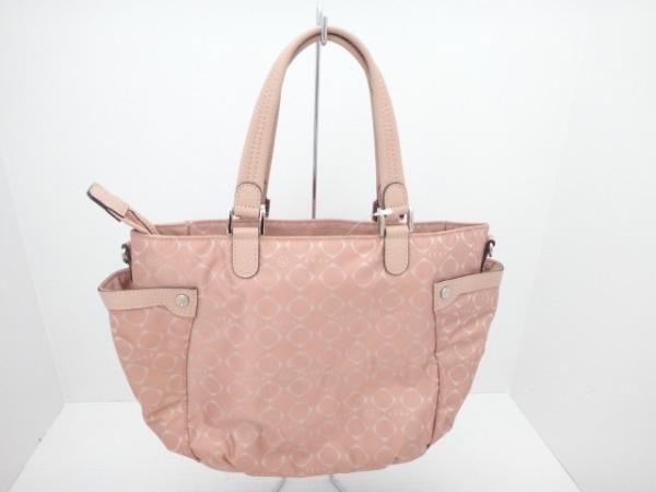 Gres(グレ) ハンドバッグ美品  ピンク ナイロンジャガード×レザー