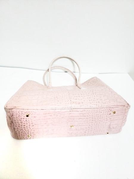 LES SACS ADAM(ルサックアダム) トートバッグ ピンク 型押し加工 レザー