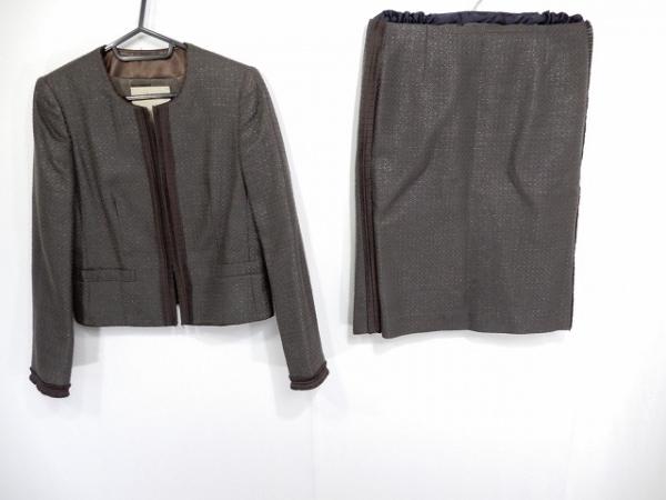 シンクロクロシング スカートスーツ サイズ36 S レディース ダークブラウン