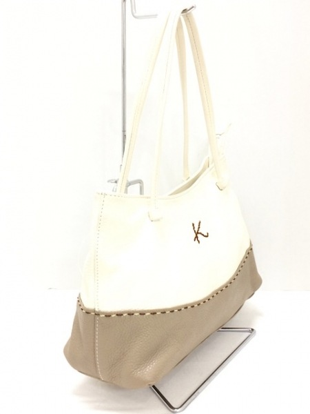 KITAMURA(キタムラ) ハンドバッグ 白×ブラウン レザー
