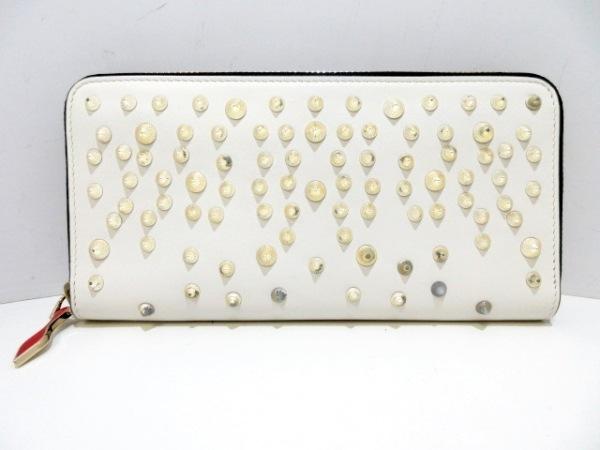 クリスチャンルブタン 長財布 パネトーネ 1185204 白×シルバー レザー×金属素材
