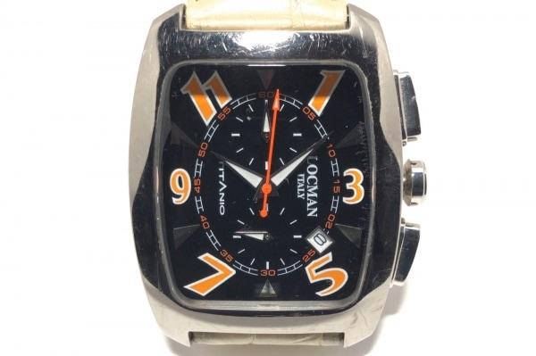 LOCMAN(ロックマン) 腕時計 484 レディース 革ベルト/クロノグラフ 黒