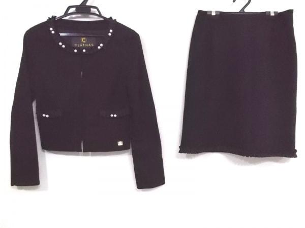 CLATHAS(クレイサス) スカートスーツ レディース美品  黒 フェイクパール