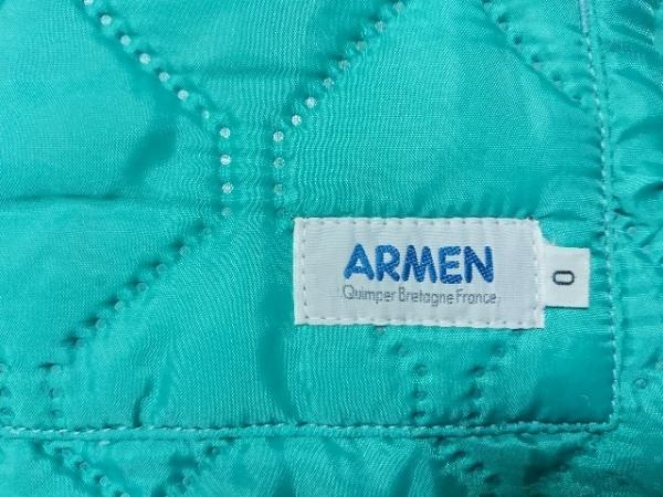 ARMEN(アーメン) ダウンベスト サイズ0 XS レディース美品  グリーン×ダークブラウン