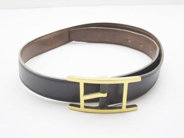 HERMES(エルメス) ベルト 75 アピ3 黒×ゴールド レザー×金属素材
