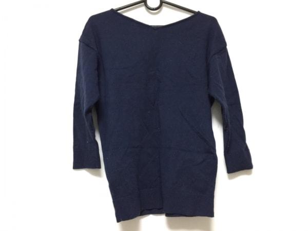 ジャスグリッティー 七分袖セーター サイズ2 M レディース ネイビー×マルチ
