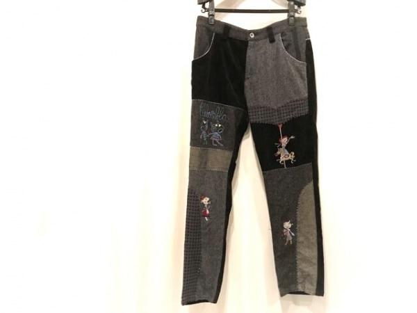 OLLEBOREBLA(アルベロベロ) パンツ サイズL レディース 黒×グレー ビジュー/ブタ
