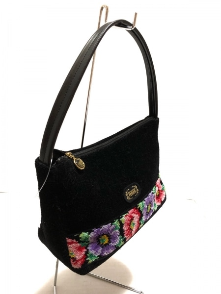 FEILER(フェイラー) ハンドバッグ 黒×マルチ 花柄 パイル×合皮