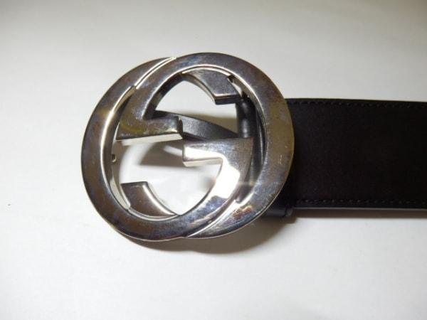 GUCCI(グッチ) ベルト 85/34 ダブルG 114876 黒×シルバー レザー×金属素材