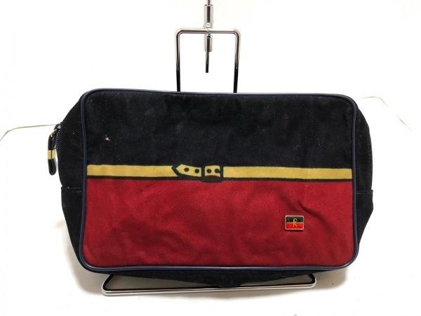 ロベルタ ディ カメリーノ セカンドバッグ 黒×レッド×ベージュ スエード