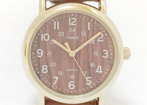 TIMEX(タイメックス) 腕時計 INDIGLO CR1216CELL レディース 革ベルト ダークブラウン