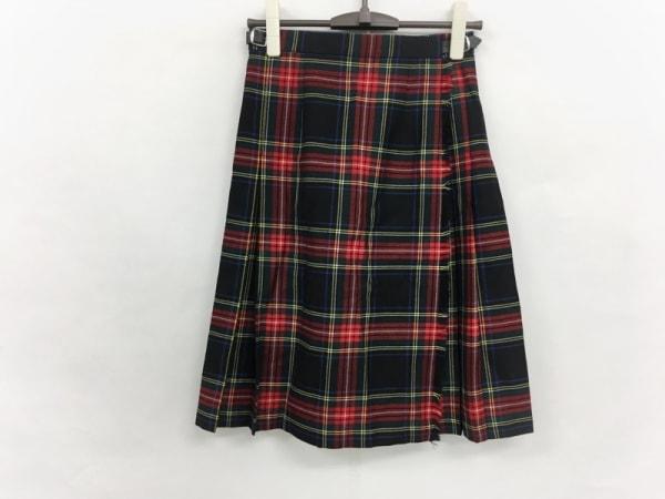 O'NEIL(オニール) 巻きスカート サイズ6 M レディース 黒×レッド×マルチ チェック柄