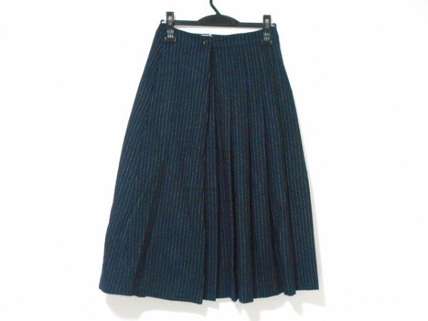THOM BROWNE(トムブラウン) 巻きスカート サイズS レディース ネイビー×白