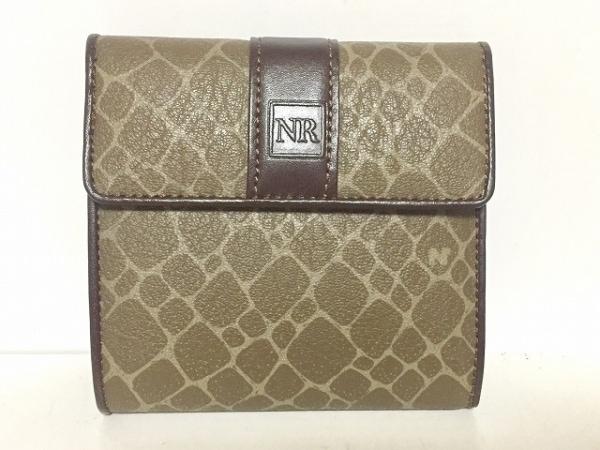 NINARICCI(ニナリッチ) 3つ折り財布 ダークグレー×ダークブラウン×ライトグレー