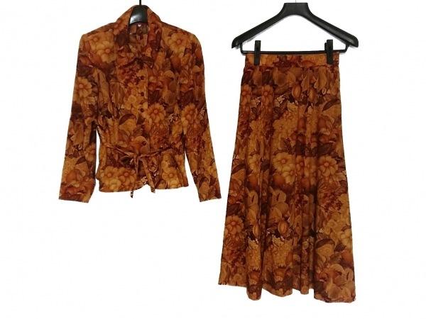 ウンガロ スカートセットアップ レディース美品  オレンジ×ブラウン 肩パッド