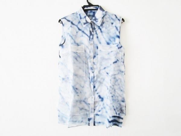 ADEAM(アディアム) ノースリーブシャツブラウス サイズ4 XL レディース ネイビー×白