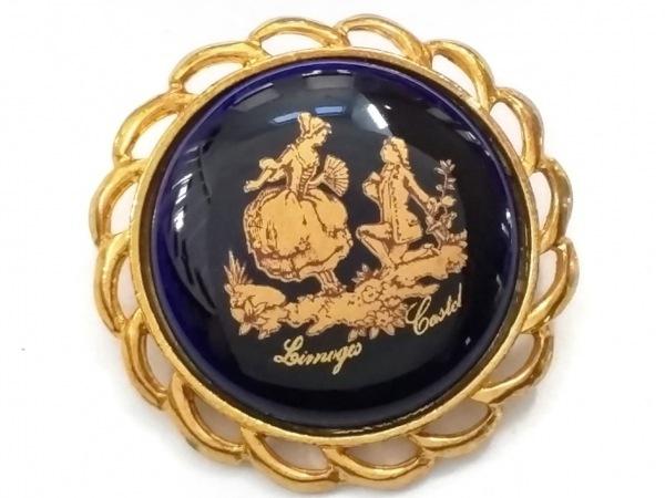 リモージュキャッスル ブローチ美品  金属素材×陶器 ゴールド×ネイビー