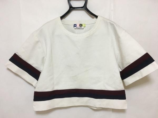 エムエスジィエム 半袖カットソー サイズ44 L レディース美品  白×ボルドー×マルチ