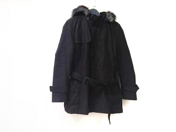 コムサイズム コート サイズL レディース 黒 冬物/フード着脱可/ジップアップ