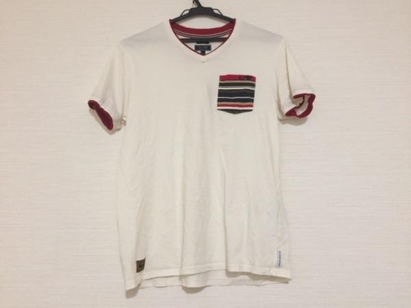 アルマーニジーンズ 半袖Tシャツ サイズM レディース アイボリー×レッド×マルチ