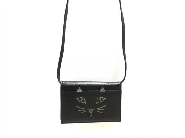シャーロットオリンピア ショルダーバッグ美品  黒×ベージュ ネコ レザー