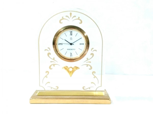 ミキモト 小物美品  クリア×ゴールド 置時計(動作確認できず) ガラス×金属素材