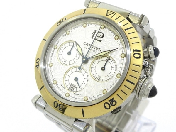 Cartier(カルティエ) 腕時計 パシャ38クロノグラフ W31036T6 メンズ 白