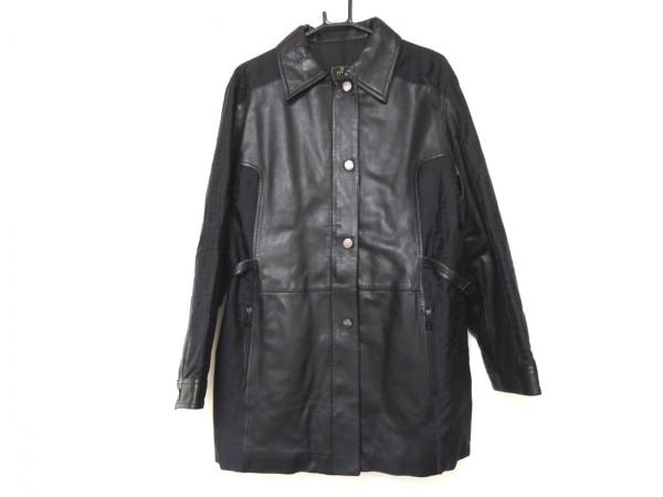 フェンディ コート サイズ44 L レディース美品  ズッカ柄 黒 冬物/レザー/ジャガード
