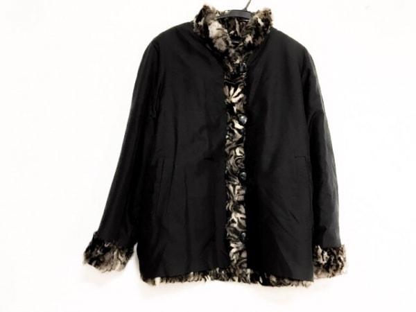 Altima(アルティマ) コート サイズF レディース美品  黒×ダークブラウン×アイボリー