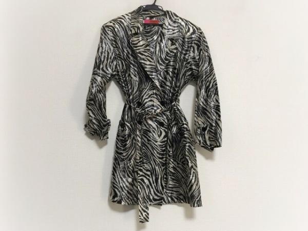 ウンガロ コート サイズ9 M レディース美品  黒×アイボリー 肩パッド/春・秋物