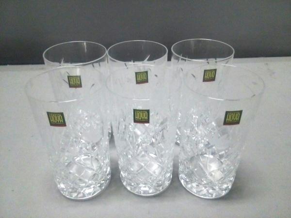 HOYAクリスタル(ホヤクリスタル) 食器新品同様  クリア グラス×6/花柄 ガラス