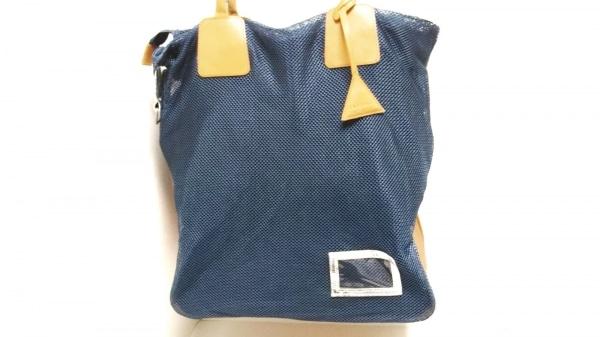 イーストパック ショルダーバッグ ブルー×ベージュ メッシュ 化学繊維×レザー
